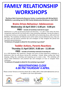 Family Relationship Workshops - Toddler Actions, Parents Reactions @ Bruce Rock Community Resource Centre